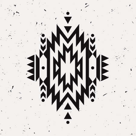 cherokee: Vector grunge monochrome decorative ethnic pattern. American indian motifs. Background with black aztec tribal ornament. Illustration