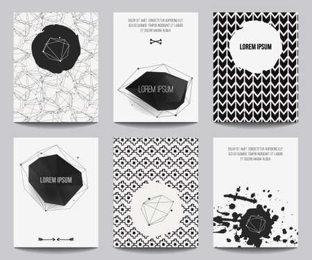 diamond: Vector set of modern posters with geometrical shapes and splashes. Trendy hipster style for flyers, banners, invitations, business contemporary design.