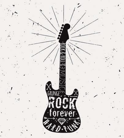concierto de rock: Etiqueta de la guitarra de la vendimia del vector con el resplandor solar, diamantes, huesos, flechas, estrellas y elementos de tipograf�a. Grunge rock and rollo estilo.
