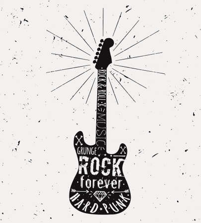 Vector vintage guitar label with sunburst, diamond, bones, arrows, stars and typography elements. Grunge rock and roll style. Illustration