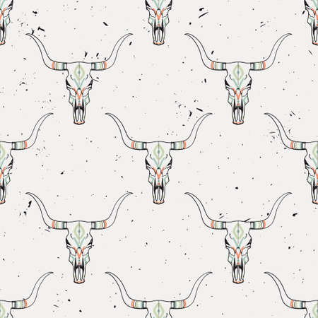 cherokee: Vector grunge seamless pattern with bull skull and ethnic ornament Illustration