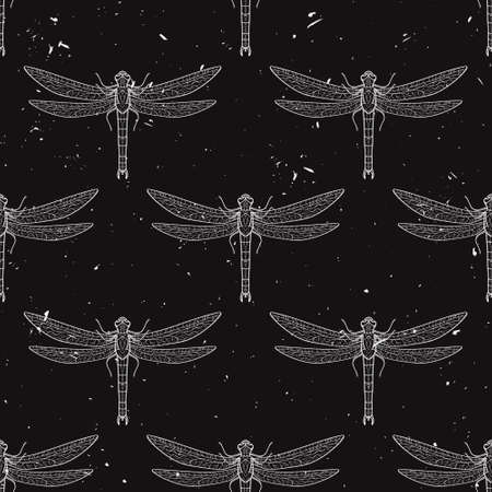 dragonflies: Vector grunge seamless pattern with dragonflies