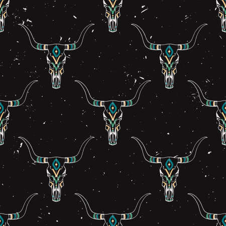 Vector grunge seamless pattern with bull skull and ethnic ornament Illustration