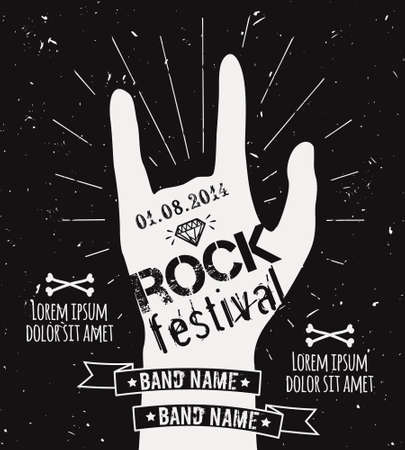 hard: Vector vintage hand label with sunburst, diamond and typography elements. Grunge rock and roll poster. Rock festival design template with place for text. Illustration
