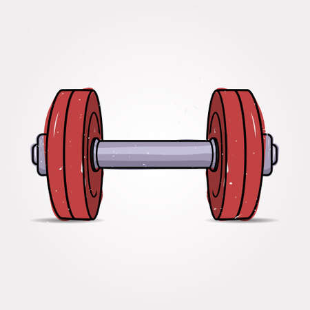 colorful grunge: Vector colorful grunge illustration of dumbbell. Fitness icon.