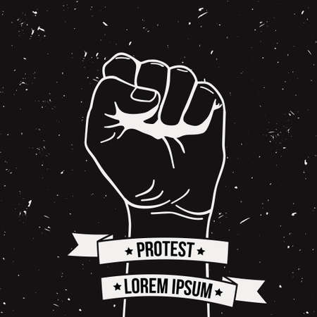 Vector monochrome illustration of clenched fist held high in protest with ribbon and place for text. Grunge poster.