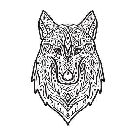 Vector black and white illustration of tribal style wolf with ethnic ornaments. American indian motifs. Totem tattoo. Boho design. Illustration