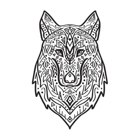 Vector zwart-wit illustratie van tribale stijl wolf met etnische ornamenten. Amerikaanse Indische motieven. Totem tattoo. Boho ontwerp. Vector Illustratie