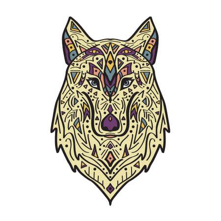 totem indien: Vector illustration colorée de loup de style tribal avec des ornements ethniques. Motifs amérindienne. Totem tatouage. Boho conception. Illustration