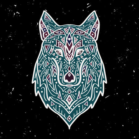 indian animal: Vector colorful illustration of tribal style wolf with ethnic ornaments on black background. American indian motifs. Totem tattoo. Boho design.