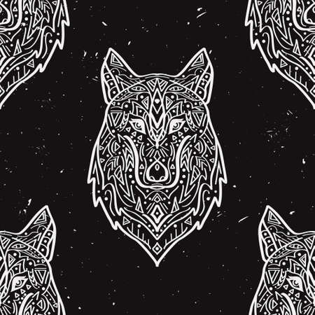 Vector grunge monochrome seamless pattern with tribal style wolf with ethnic ornaments. American indian motifs. Boho design.