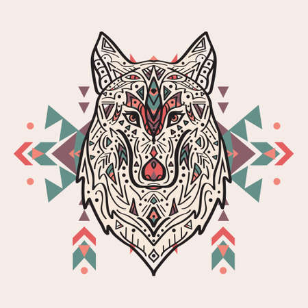 warrior tribal tattoo: Vector colorful illustration of tribal style wolf with ethnic ornaments. American indian motifs. Totem tattoo. Boho design.