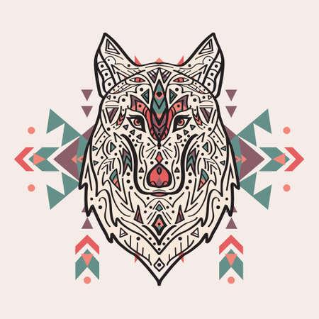 Vector illustration colorée de loup de style tribal avec des ornements ethniques. Motifs amérindienne. Totem tatouage. Boho conception. Illustration