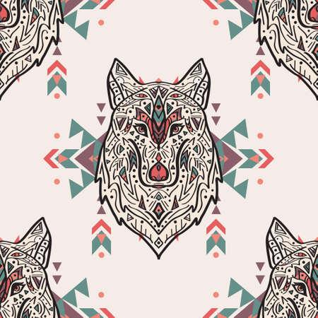 Vector Grunge bunten nahtlose Muster mit Tribal Style Wolf mit ethnischen Verzierungen. Indianisch Motive. Boho-Design.