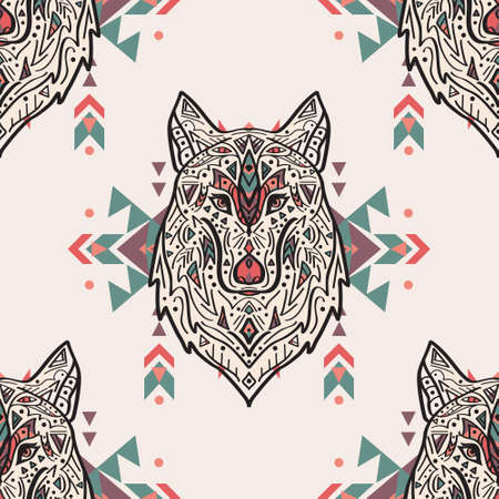 Vector grunge colorful seamless pattern with tribal style wolf with ethnic ornaments. American indian motifs. Boho design. Vectores