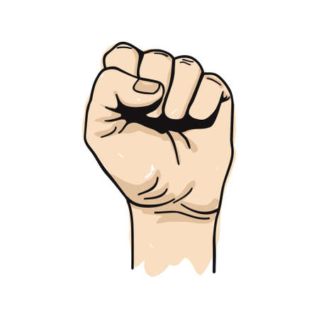boycott: Vector illustration of clenched fist held high in protest Illustration