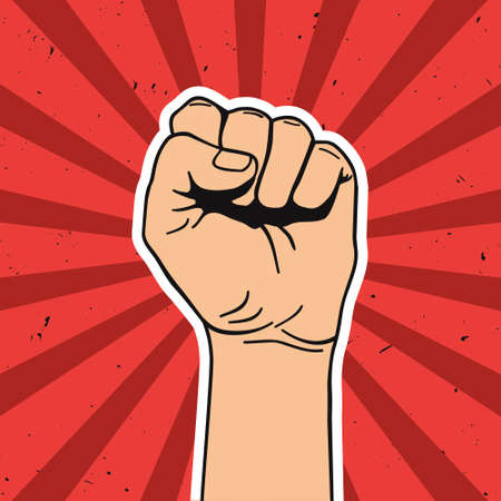 boycott: Vector illustration in retro style of clenched fist held high in protest. Comics art. Illustration