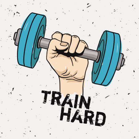 hard: Vector grunge illustration of hand with dumbbell and motivational phrase Train hard. Fitness background.