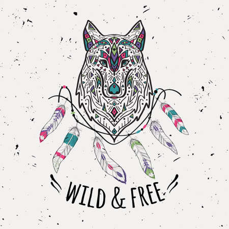 Vector colorful illustration of tribal style wolf with ethnic ornaments, feathers, threads. American indian motifs. Boho design. Wild and Free concept. Stock Illustratie
