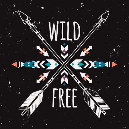 native: Vector grunge illustration with crossed ethnic arrows and tribal ornament. Boho and hippie style. American indian motifs. Wild and Free poster.