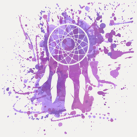 cherokee: Vector illustration of dream catcher with watercolor splash