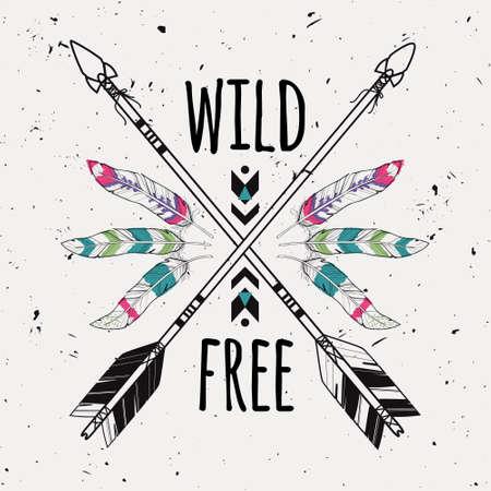 indios americanos: Ilustración de grunge vector con las flechas cruzadas étnicos, plumas y adornos tribales. Boho y estilo hippie. motivos indios americanos. cartel salvaje y libre.