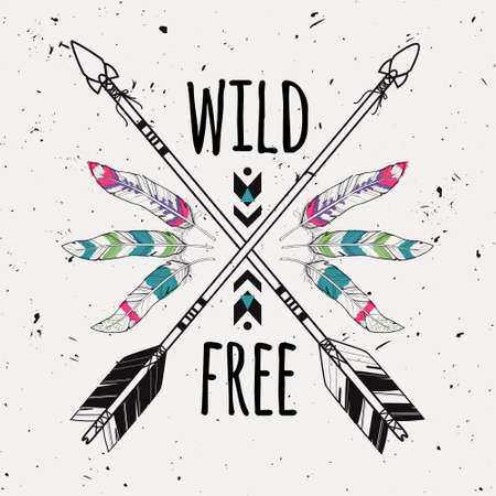 hippie: Vector grunge illustration with crossed ethnic arrows, feathers and tribal ornament. Boho and hippie style. American indian motifs. Wild and Free poster.