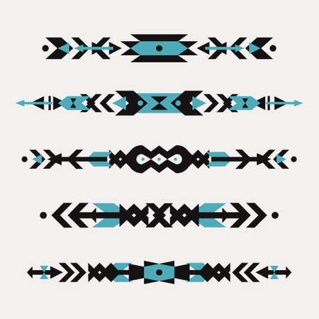 motif: Vector set of decorative ethnic borders with american indian motifs. Boho style. Tribal design elements. Illustration