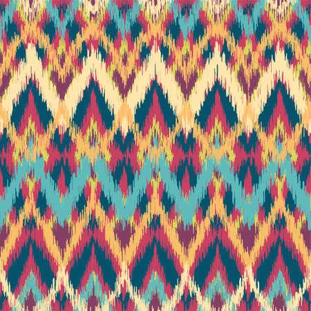 cherokee: Vector colorful seamless ikat ethnic pattern Illustration