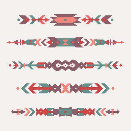 bordados: Vector conjunto de las fronteras étnicas decorativos con motivos indios americanos. estilo boho. elementos de diseño tribales.