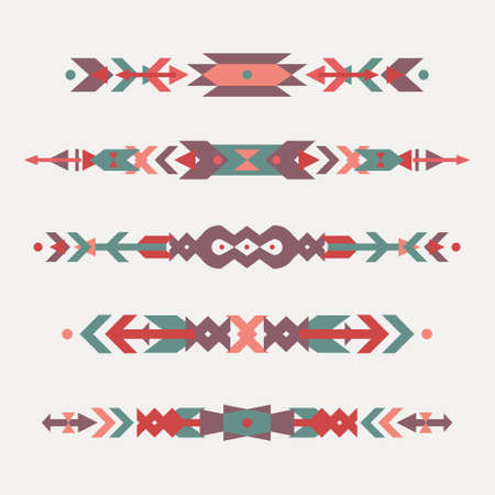 american indian aztec: Vector set of decorative ethnic borders with american indian motifs. Boho style. Tribal design elements. Illustration