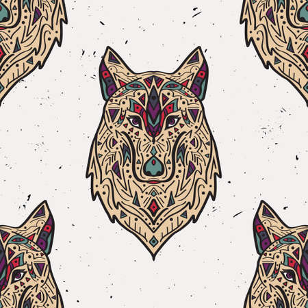 predators: Vector grunge colorful seamless pattern with tribal style wolf with ethnic ornaments. American indian motifs. Boho design. Illustration