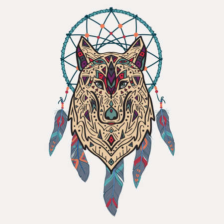 dreams: Vector colorful illustration of tribal style wolf with ethnic ornaments and dream catcher. American indian motifs. Totem tattoo. Boho design. Illustration