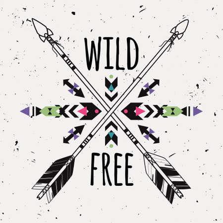 tribales: Vector grunge con flechas étnicos cruzados y ornamento tribal. Boho y el estilo hippie. Motivos indios americanos. Cartel salvaje y libre.
