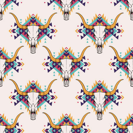 Vector tribal seamless pattern with bull skull and decorative ethnic ornament. Boho style. American indian motifs. Illustration