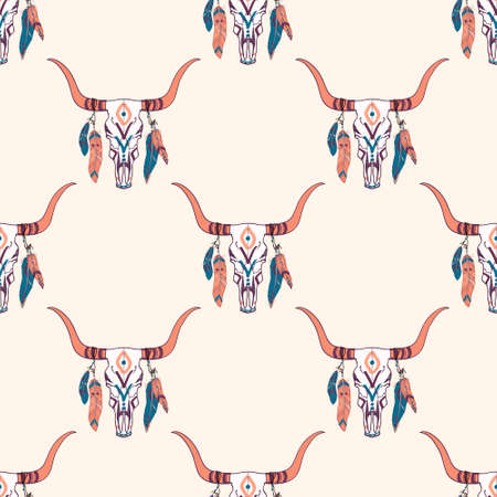 cow skull: Vector tribal seamless pattern with bull skull and ethnic feathers. Boho style. American indian motifs. Illustration