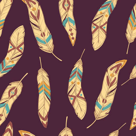 cherokee: Vector colorful seamless ethnic pattern with decorative feathers