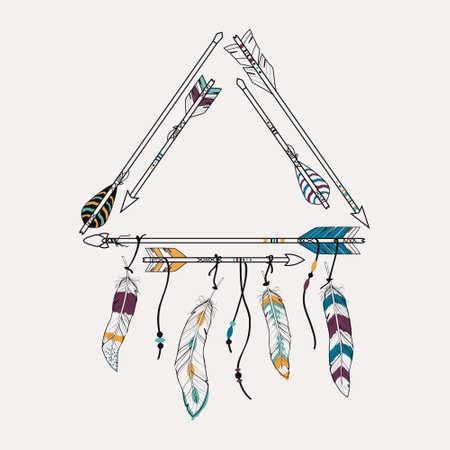 tribales: Ilustración del vector con el marco tribal con las flechas y plumas étnicos. motivos indios americanos. estilo boho.