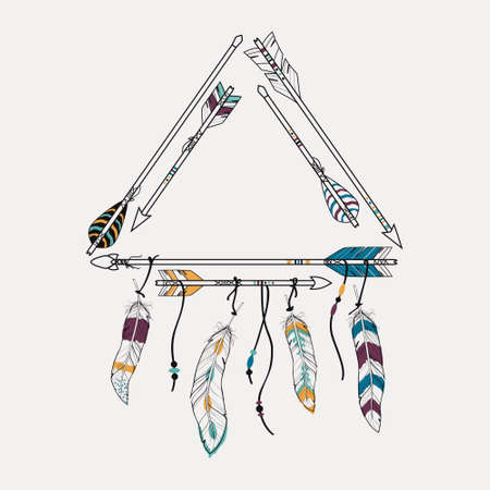 fabric art: Vector illustration with tribal frame with ethnic arrows and feathers. American indian motifs. Boho style.