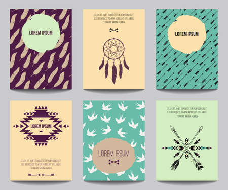 for a dream: Vector set of modern posters with tribal elements: ethnic ornaments, arrows, dream catcher, feathers. Trendy boho style for banners, invitations, business design. Templates with american indian motifs Illustration