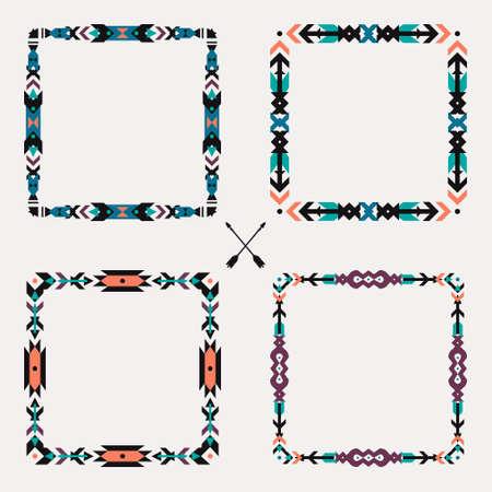 collection: Conjunto de vectores con abstractas geométricas marcos étnicos. Elementos de diseño gráfico tribal. Estilo Boho. Motivos indios y aztecas estadounidenses.