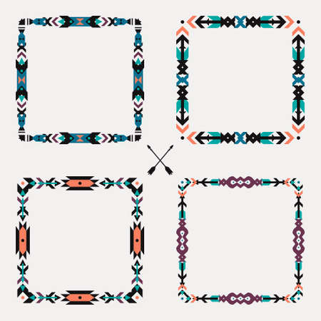Vector set with abstract geometric ethnic frames. Tribal graphic design elements. Boho style. American indian and aztec motifs.