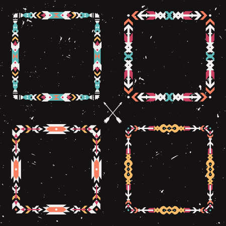 Vector grunge set with abstract geometric ethnic frames. Tribal graphic design elements. Boho style. American indian and aztec motifs.