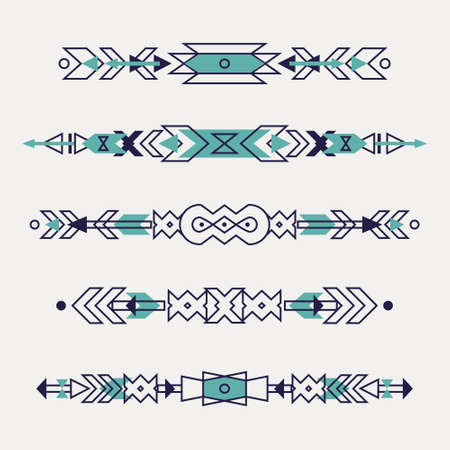 Vector set of decorative ethnic borders with american indian motifs. Boho style. Tribal design elements. Illustration