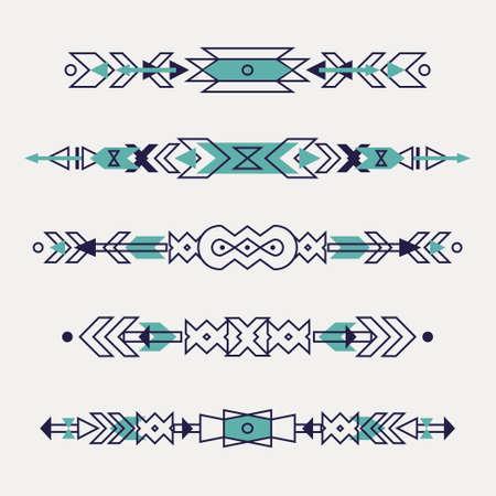 Vector conjunto de las fronteras étnicas decorativos con motivos indios americanos. estilo boho. elementos de diseño tribales. Foto de archivo - 51568687