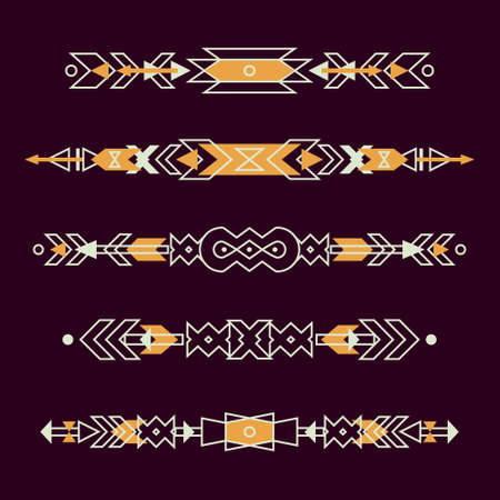 cherokee: Vector set of decorative ethnic borders with american indian motifs. Boho style. Tribal design elements. Illustration