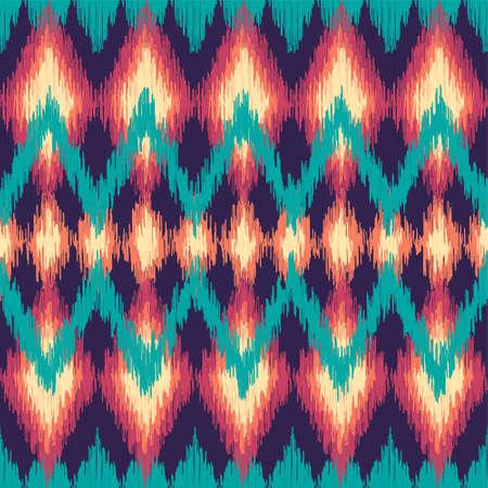 indische muster: Vector bunte nahtlose Ikat ethnische Muster. Zickzack grafische Elemente.