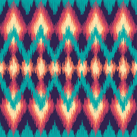 Vector colorful seamless ikat ethnic pattern. Zigzag graphic elements. 免版税图像 - 51568778
