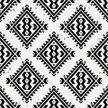 Vector grunge monochrome seamless decorative ethnic pattern. American indian motifs. Background with aztec tribal ornament. Boho style.