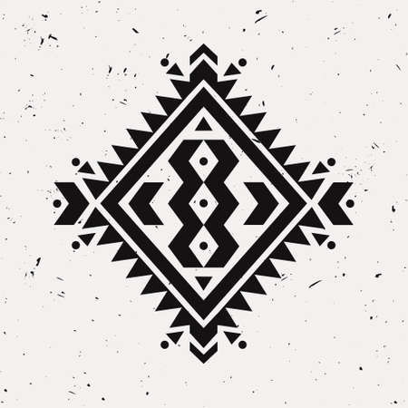 cherokee: Vector grunge monochrome decorative ethnic pattern. American indian motifs. Background with black aztec tribal ornament. Boho style. Illustration